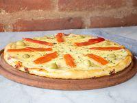 Pizza muzzarella con morrón
