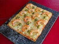 Pizza con camarón y palmitos (4 porciones)