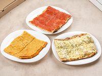 Promo 3 - Pizza (porción) + pizza con muzzarella (porción) + fainá (porción)