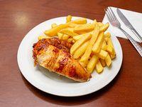 Promo - 1/4 pollo asado + papas fritas + bebida 355 ml (lata)