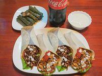 Promo para cuatro - 4 shawarma + niños envueltos + yogur grande + Coca-Cola 1.5 L
