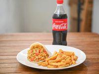 Combo 1 - Arepa + papas fritas + bebida 600 ml