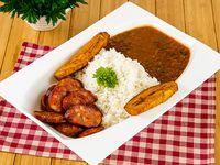 Comida con chorizo - Chorizo con arroz + miniestra + tajadas de plátano