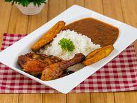 Comida con pollo - 1/4 Pollo con arroz + miniestra + tajadas de plátano