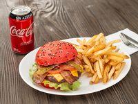 Promo hamburguesa tradicional S, papas fritas300 gr y bebida350 cc