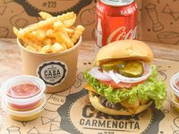 Promo - Burger classic Memphis + papas fritas +  bebida 350 ml
