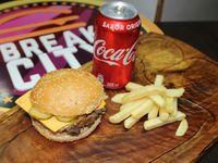 Cheese Burger + Bebida + Papas fritas