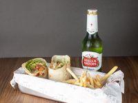 Combo - Wrap + papas fritas + cerveza Stella Artois 330 ml