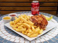 Colación, 1cuarto de pollo asado + papas fritas + bebida lata 350cc línea coca cola