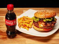 Hamburguesa de Carne + Papas Fritas + Gaseosa 250 ml