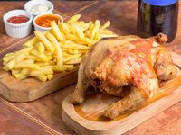 Promo 5 - Pollo entero + papas fritas medianas + bebida 1.5 L