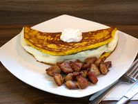 Cachapa de queso y cochino frito