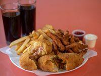 Combo para 2 - 2 papas rellenas + pollo crunch + papas fritas + bebida 1.5 L