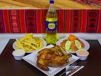 Promo - Pollo + papas fritas + ensalada + cremas + bebida 1.5 L