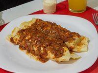 Canelones de verdura y ricota con salsa de fileto