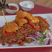 Pollo broster con arroz chino