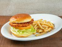 Combo - Frango burger + soda en lata 355 ml + acompañamiento