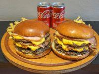 Promo para 2 - 2 Hamburguesas Triples bacon + Papas fritas con cheddar + 2 Coca Cola 220 ml