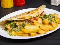Promoción 8 - Taco tradicional gigante + papas fritas