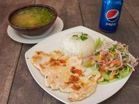 Pollo a la plancha + 2 agregados + bebida Pepsi 350 ml