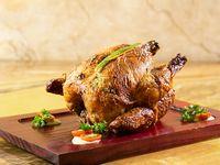 Pollo rostizado entero + guarnición + bebida de la casa
