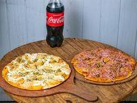 Combo familar - Pizza con muzzarella y catupiry + pizza con jamón y queso + Coca Cola 1 L