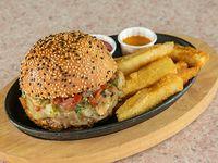 Farmers swiss mushroom burger