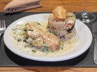 Combo - Pollo en salsa de verdeo con arroz Yamani + bebida