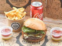 Promoción - Burger blue hits + papas fritas +  bebida