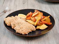 Milanesa + papas, boniatos y calabaza chips al horno