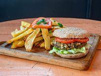 Burger Veggie de Lentejas con Papas Fritas o Ensalada