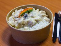 Pollo con champiñón con arroz