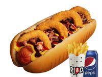 Combo - Hot dog vaquero + papas fritas medianas + bebida Pepsi 350 ml