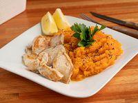 Menú sin sal -  Churrasquitos de pollo acompañados de puré de calabaza (SIN SAL)