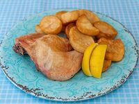 1/4 pollo con papas al horno