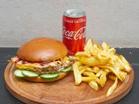 Combo - Hamburguesa simple pigtamer + papas fritas + lata de Coca Cola 220 ml