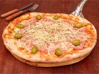 Pizza con jamón y provolone grande