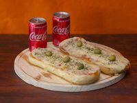 Promo - 2 pizzetas muzzarella + 2 bebidas Coca Cola en lata 220 ml