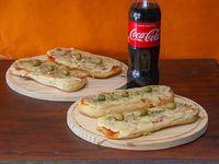 Promo - 4 pizzetas con muzzarella + bebida Coca Cola 1.25 L