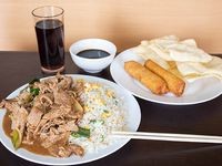 Colación B - Wantán frito (5 unidades) + arrollados primavera (2 unidades) + mongoliano a elección + arroz + bebida en lata 350 ml