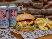 Combo 2 - Lam Burguer + papas fritas + Lata de cerveza Kira artesanal 473 ml