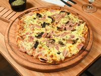 Pizzeta con jamón y champignones