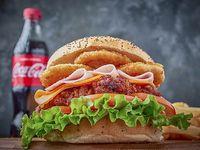 Staten islan burger + papas fritas + gaseosa 500 ml