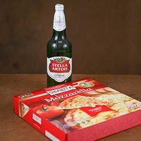 Tres Stella L con envases + Pizza Sibarita x2 con Mussa 940 g