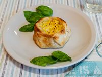 Canastita de jamón, muzzarella y huevo