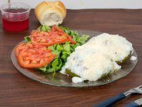 Zapallitos rellenos (dos) con lechuga y tomate + pan + gelatina