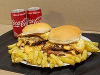 Promo - 2 hamburguesas dobles + papas fritas + bebida Coca Cola 220 ml