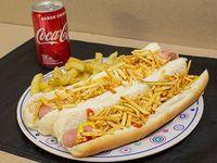 Promo - 2 hot dogs a elección + papas fritas + bebida Coca Cola 220 ml