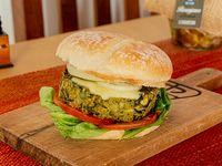 Hamburguesa vegana de arvejas y espinacas