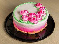 "Cake de vainilla decoración de dama (redondo 8"")"